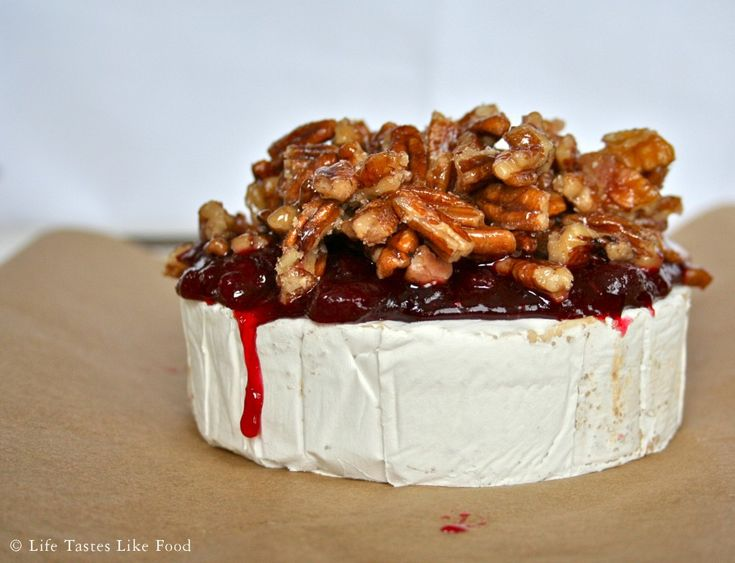 Baked Brie with Mulled Wine Cranberry Sauce and Glazed Pecans