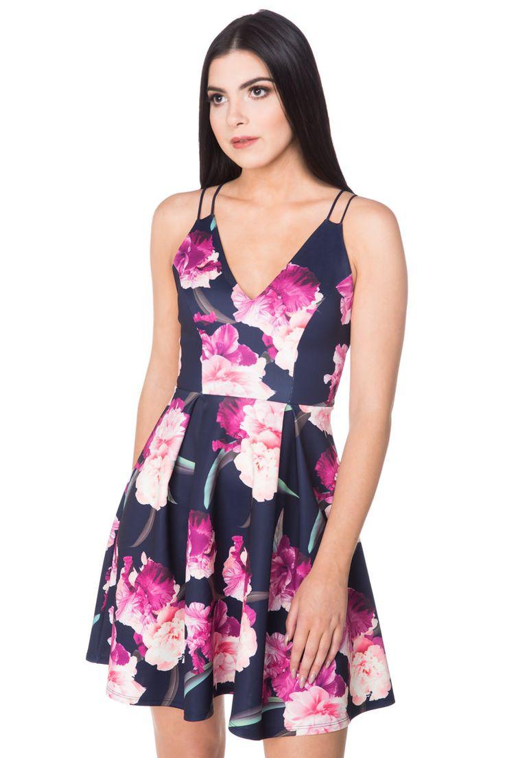 Multi Strap Floral Skater Dress