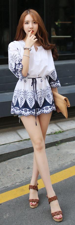 Luxe Asian Korean Women Fashion Garden White Dress