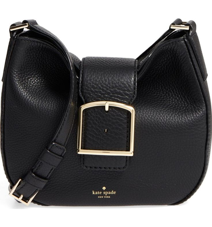 Bold buckle hardware contrasts beautifully with the supple pebbled leather of this curvy crossbody bag by Kate Spade.