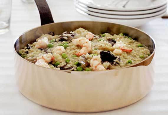 Prawn risotto with sweet spring peas