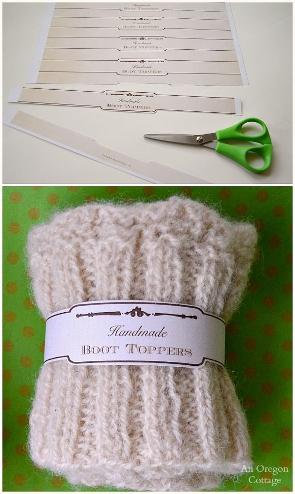 Knitting Labels Free : Knitted scallop edged boot toppers free printable gift