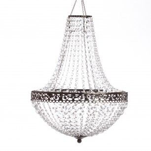 """Renaissance Chandelier This stylish renaissance chandelier features an antique finish for the frame, and is non-iridescent. A light kit is included. Place in hallways or by doorways for a grand entrance! $105.00 Must be purchased in multiples of 2. Minimum order of 2 chandeliers. 14"""" Diameter x 18"""" Length."""