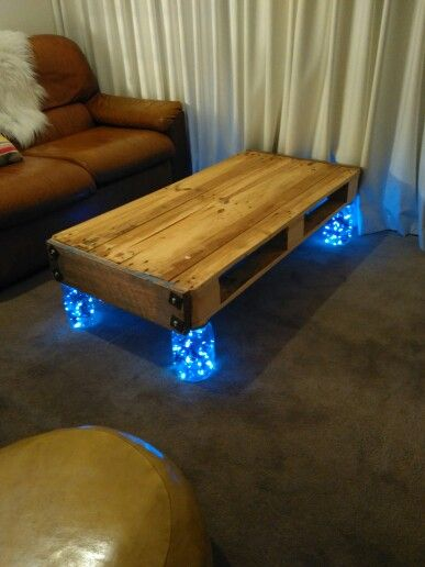 Pallet  table looks even better now the fairy lights are in.
