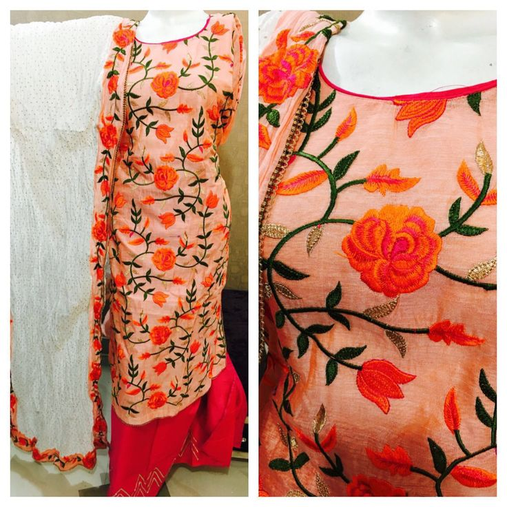 Orange Colored Designer Embroidered Suit With Cotton Dupatta