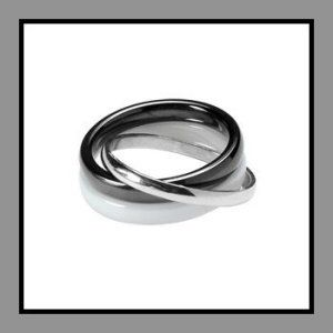 So Chic Jewels – Sterling Silver Black Ceramic 3 Ring Linked Wedding Band Ring These Womans Ceramic Wedding Rings are 925 Sterling Silver. The width of each ring is 3 mm and is nickel free. http://theceramicchefknives.com/womans-ceramic-wedding-rings/ So Chic Jewels – Sterling Silver Black Ceramic 3 Ring