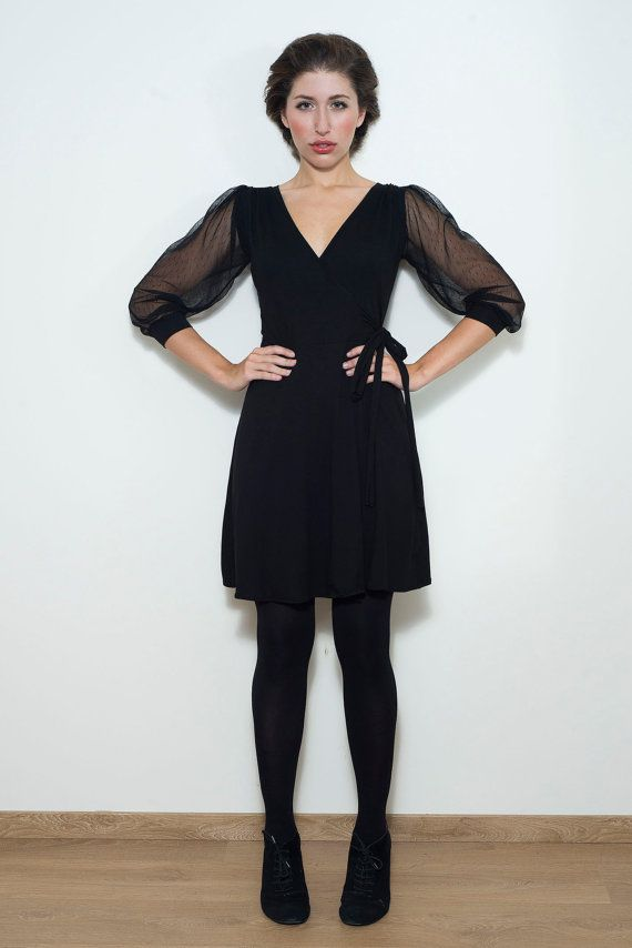 Black Wrap Dress// See through Sleeves//S.M.L. by chrystalshop, €67.00