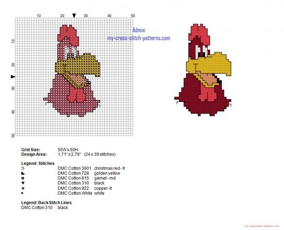 Foghorn Leghorn face Looney Tunes cross stitch pattern height 40 (click to view)