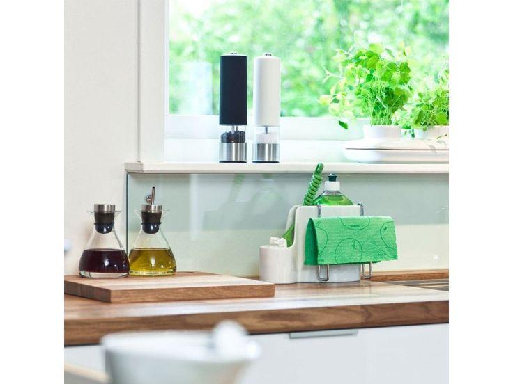 Stojánek na mycí prostředky SAGAFORM Kitchen Sink Set. Porcelánová nádobka k uložení saponátu a kartáče - konzolka k zavěšení a…