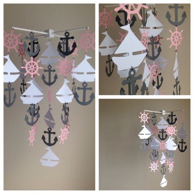 Light pink white and gray Nautical mobile by MadeByKatee on Etsy