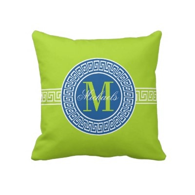 Elegant Blue and Lime Greek Key Monogram Pillow by hhtrendyhome: Greek Key