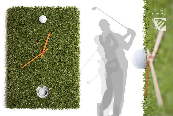 GolfWatch, pendulum clock - For golfers who would like to see it always in the hole ... Artificial grass with pendulum m...