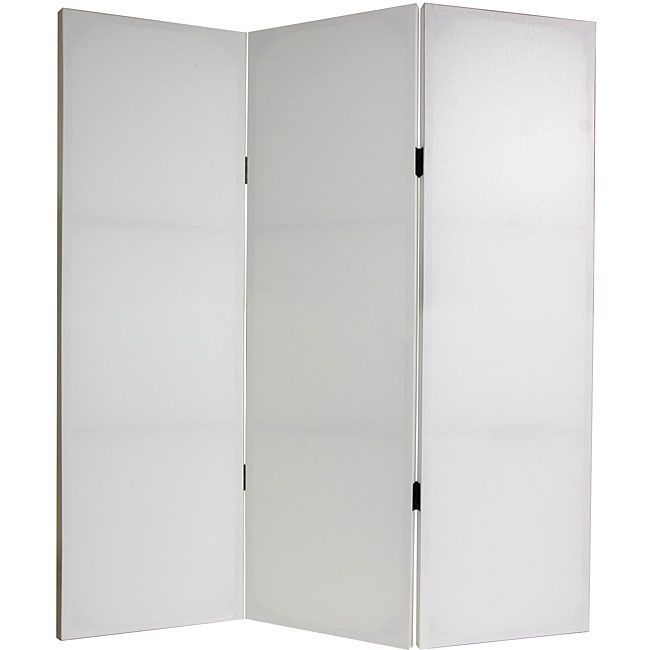 This plain room divider features a white canvas surface that you can decorate with your own art. A wood-framed room divider is great for providing privacy, as a room partition or a decorative focal point.