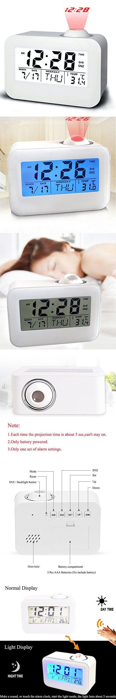 "Alarm Clocks for Bedrooms, Bidason Cool Digital Snooze Projection Alarm Clock with 3.5"" LED Display, Cube Office Desk Alarm Clock, Smart Back light, Hourly Chime"