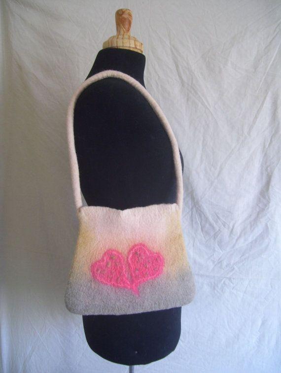 Handmade felt bag tote bag Corriedale wool two pink by CleoDeLana