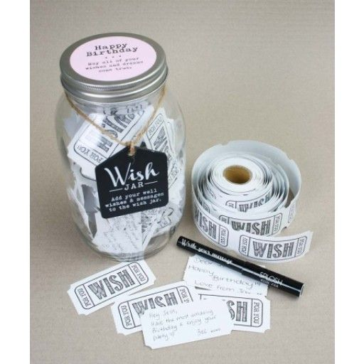Wish Jar - Happy Birthday Pink  Wish Jars make a perfect, meaningful gift! Each Wish Jar comes with a keepsake jar with reversible blackboard tag that you can write on with chalk, a roll of 100 blank wish cards and a pen for writing messages.  This item is beautifully gift boxed with a pale pink label on top of the lid that reads: Happy Birthday. May all of your wishes and dreams come true