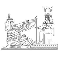 MAAT and ISIS egyptian deities coloring page - Coloring page - COUNTRIES Coloring Pages - EGYPT coloring pages - GODS AND GODDESSES of Ancient Egypt coloring pages