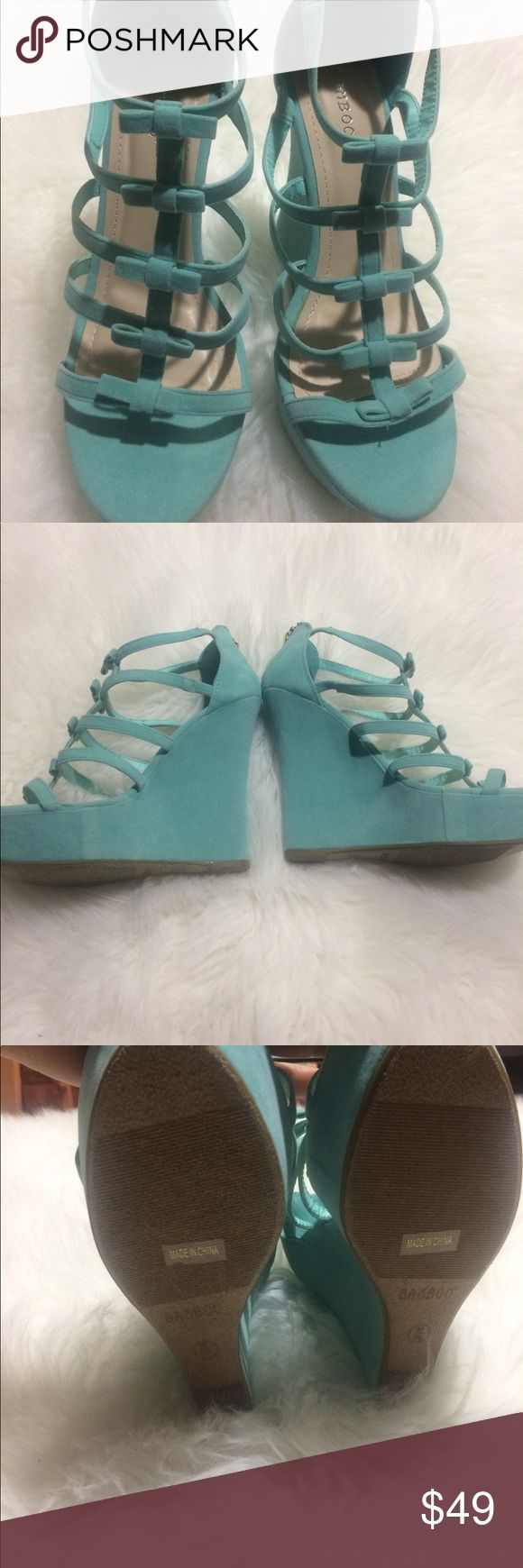 Teal Wedge Shoe This beautiful Teal wedge shoe is the last one of its kind in stock 5 inch heel and a 2 inch platform makes it very comfortable to walk in.  Beautiful color for the season. All our shoes are NEW and discounted to sell .. Bundle and save BAMBOO Shoes Wedges