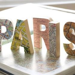 For when you go on holiday, collect maps and stick them to letters from a craft store: such a good idea