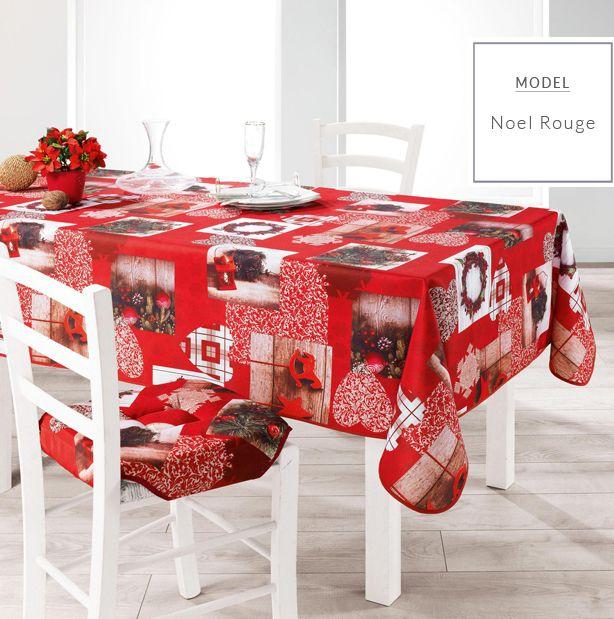 Czerwony obrus na stół z motywem świątecznym