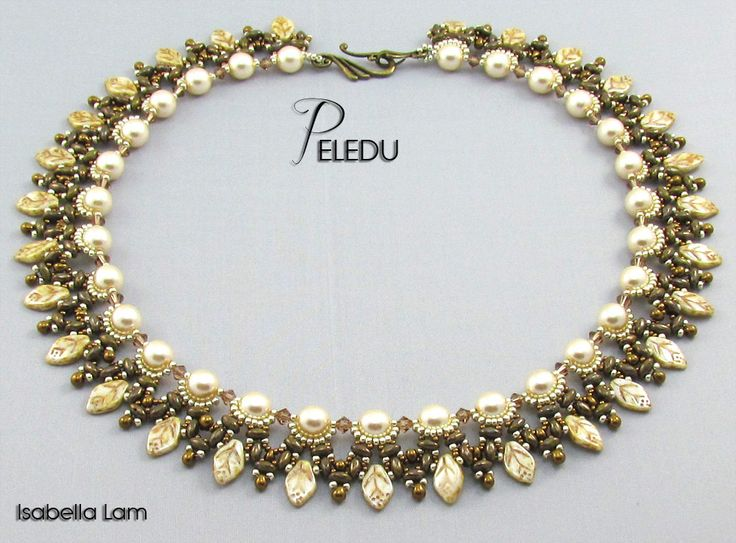 PELEDU Amazing Pearls, Czech Leaves and SuperDuo Beadwork Necklace tutorial instructions for personal use only. $11.00, via Etsy.