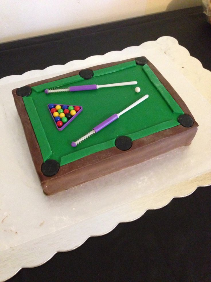 Billiards party! Pool table cake!