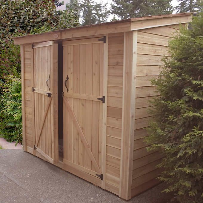 SpaceSaver 8 ft. x 4 ft. Garden Shed  Specifications:  Dimensions (L x W x H):  247.6 cm x 120.7 cm x 83 cm front – 241.3 cm back (97.5 in. x 47.5 in. x 83 in. front – 95 in. back):  Double door dimensions (W x H): 157.5 cm x 182.9 cm (62 in. x 72 in.)  Weight:  323 kg (711 lb.)