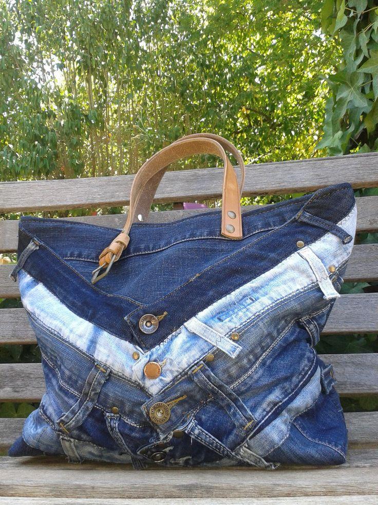 Sac cabas en jeans et cuir createur