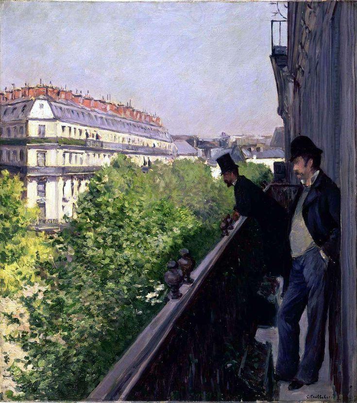 Un balcon, boulevard Haussmann. Gustave CAILLEBOTTE
