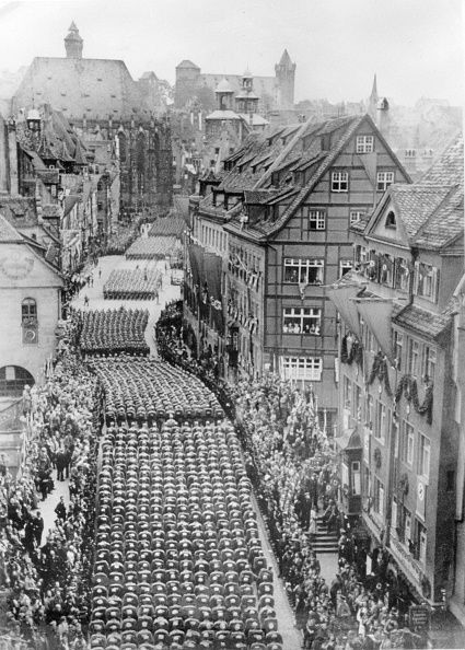 Germany Third Reich Nuremberg Rally 1938. SA columns marching through Nuremberg.: