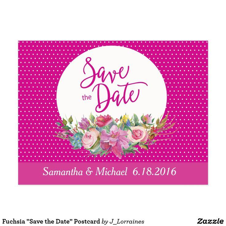 "Fuchsia ""Save the Date"" Postcard"