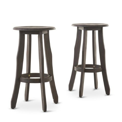 Primrose Outdoor Finished Acacia Wood Barstools Set Of 2