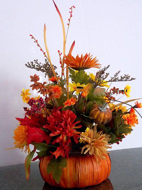 Fall pumpkin floral arrangement floral centerpiece mums for Fall fake flower arrangement ideas
