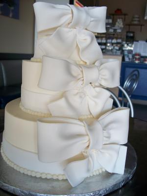 White Bow Wedding Cake Three Tier Smith Island