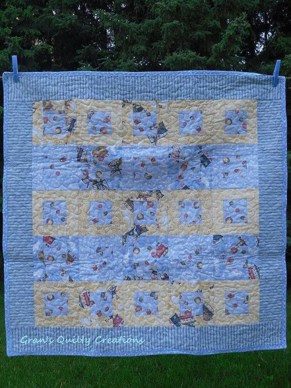 Crib size sailboat quilt perfect for that new baby boy!