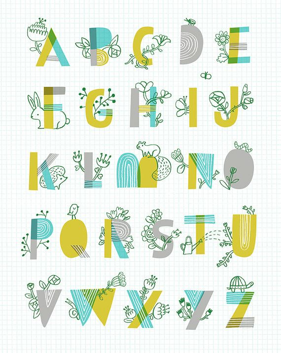 Spring Garden Alphabet by Sarah Walsh on PetitReve/Etsy