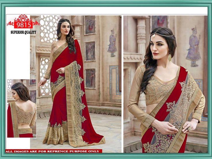Bollywood Indian Party Wear Red Saree Sari Designer Pakistani Wedding Saree