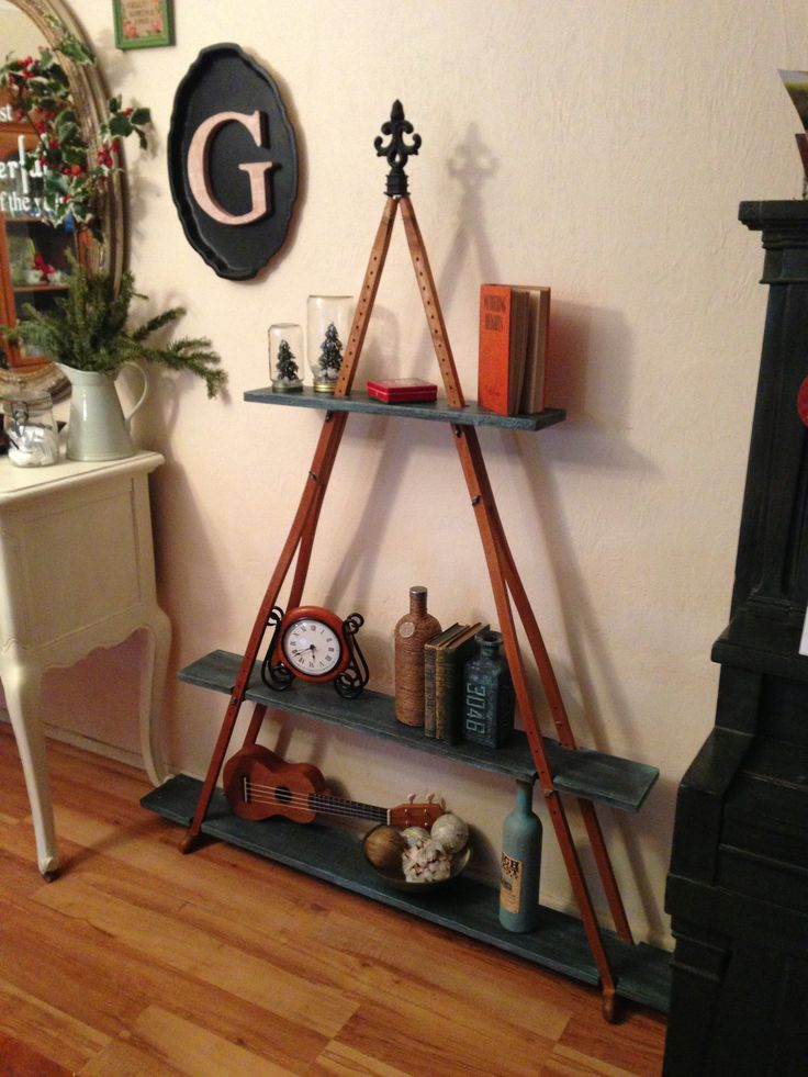 Pyramid Shelf Made From A Pair Of Wooden Crutches