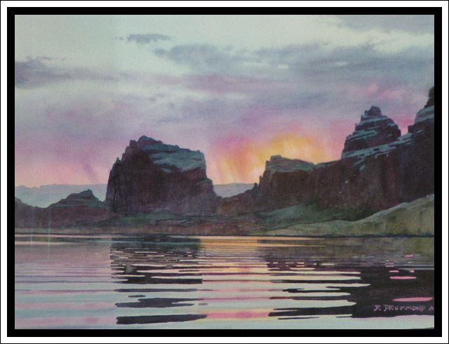 """Labyrinth Bay Sunrise"" - Lake Powell Watercolor by David Drummond - Original Watercolor Paintings - Albuquerque, New Mexico"