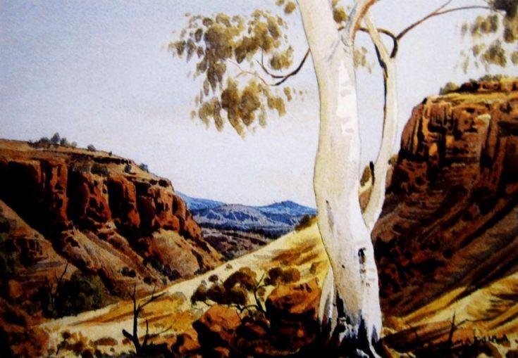 Central Australian Landscape with Ghost Gums, Watercoloir, 26 x 36.5cm. - Australian Art Auction Records