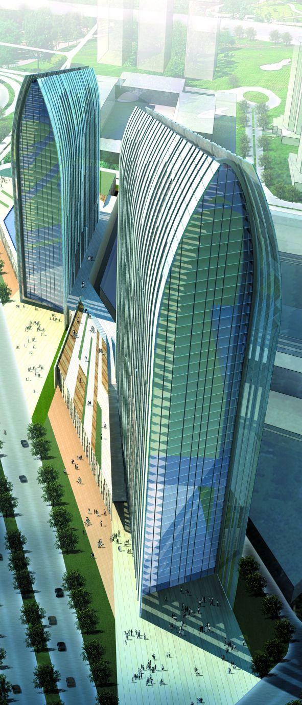 Boulevard Plaza, Emaar Towers, Dubai, UAE designed by Aedas :: 37 floors, height 168m