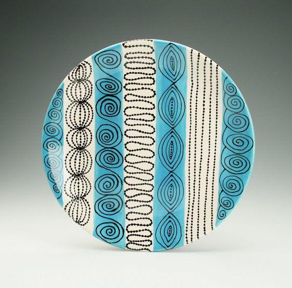 "Teal Blue, Black, White Bohemian Serving Platter Hand Painted Dinnerware - 12"""