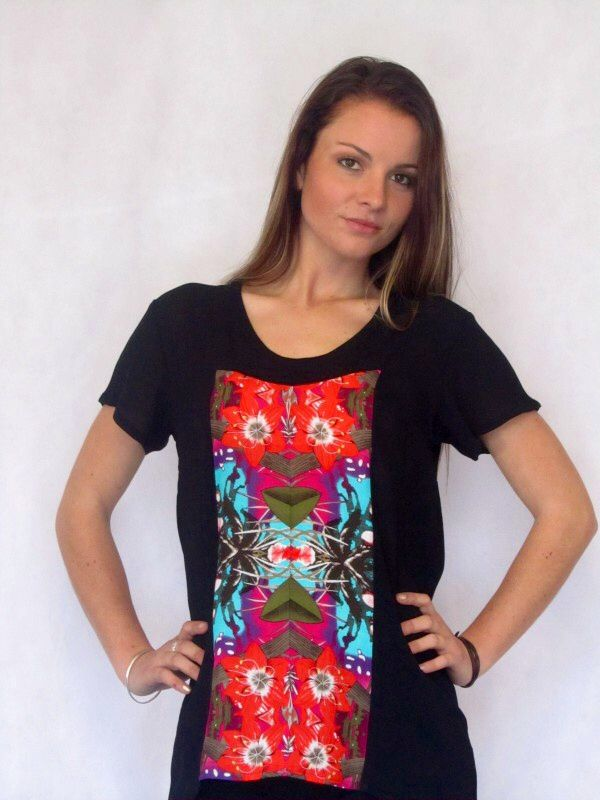 Daily Tee - Bright  Stunning tee with panels to flatter the figure and a fun insert in the front panel.  Made in New Zealand