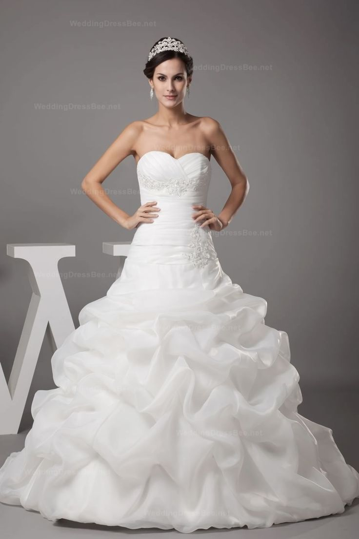 Majestic Sweetheart Pleats And Beaded Appliques Organza Bubble Dress