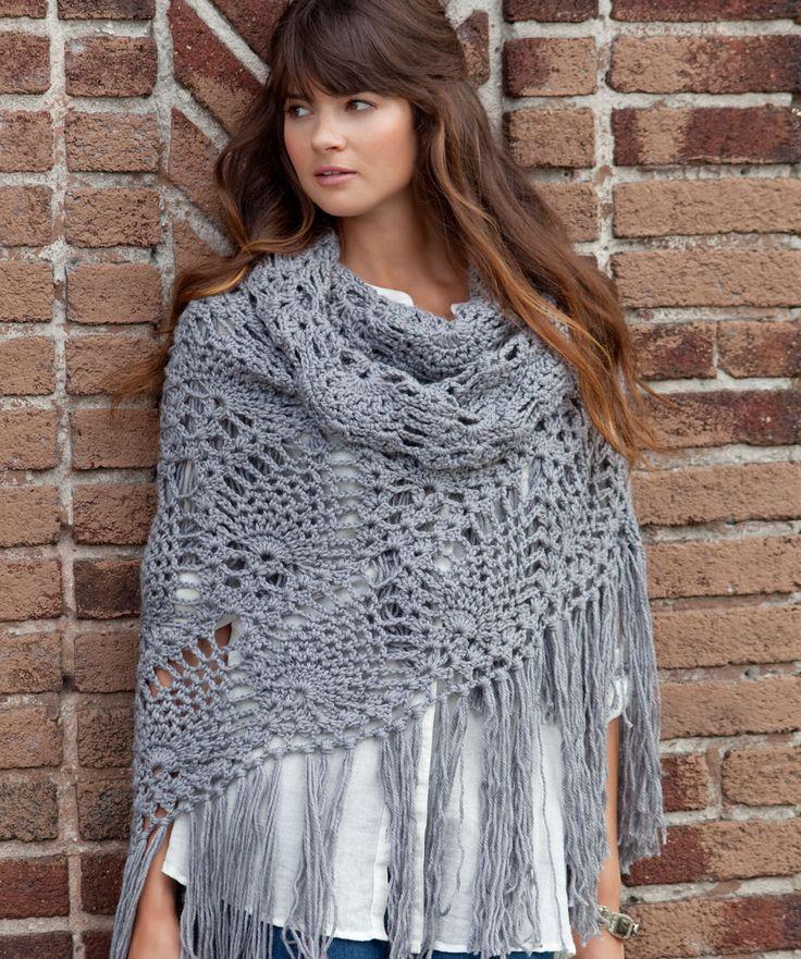 Sidewalk Shawl Crochet Pattern from Red Heart. [I'm not a big fan of shawls but I kinda like this one]