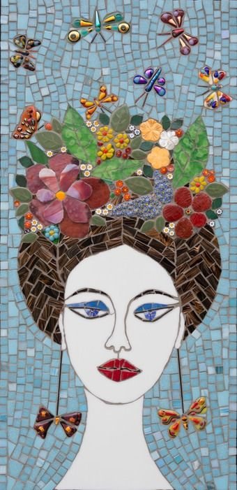 "Flowers in Her Hair  12"" x 25""  glass, fused glass  butterflies  2014"