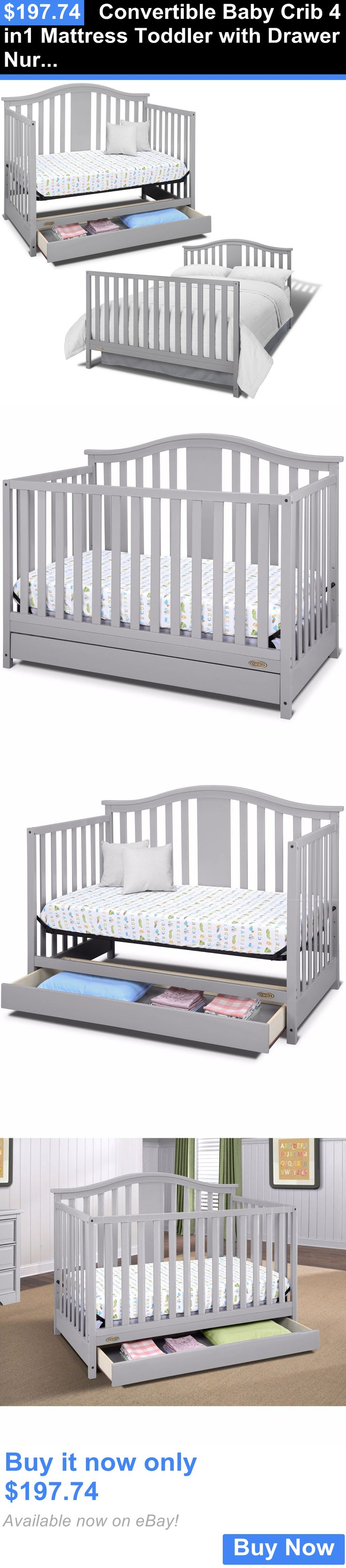 Baby bed ebay india - Baby Nursery Convertible Baby Crib 4 In1 Mattress Toddler With Drawer Nursery Bed Pebble Gray