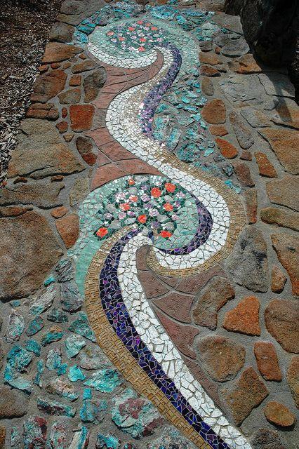 beautiful mosaic garden path