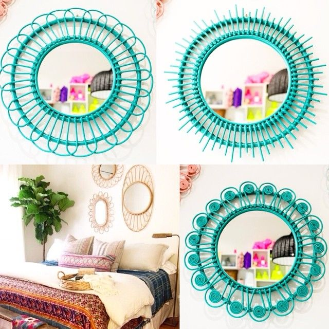 Inspired by this pic from @anthropologie and @amberinteriors ..we think three of our mirrors, hung together, would look awesome in any room. Petal, Sun and Peacock Mirrors, seen here in teal. (Prices starting at $99)