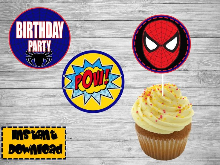 Spider Man Decoration / Spider Man Birthday / Spider Man Party Supplies /  Cupcake printable toppers / Spider Man stickers by Chumelito on Etsy